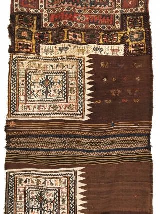 Antique Bakhtiari Saddle Bags. Last Quarter 19th century. Complete bags intact and all original. This could serve as a repository for many ancient tribal symbols. Saturated colors on piled areas. Excellent condition  ...