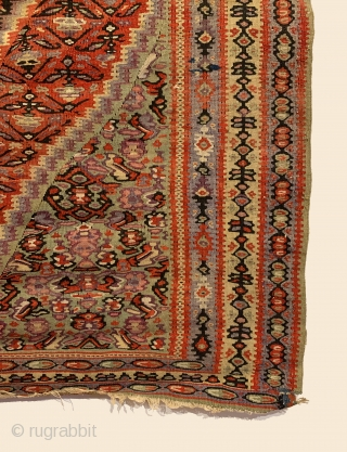 "Antique Senneh Kilim. Fine weave. All original sides. 8 colors. 6'4"" x 4'1"". Delicately hand washed."