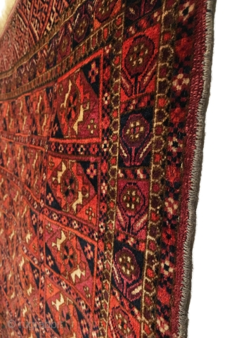 Antique Tekke Small Rug. Mid 19th Century. Miniature version Archetypal Gul 5 x 7 field.  Flower in the box border motif used by Tekke sub-tribes. Possible dowry piece. Full soft shiny  ...