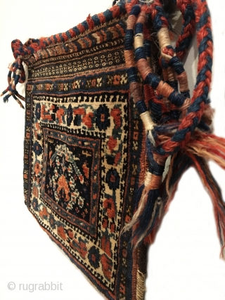 "Antique Afshar Chanteh. Early 20th Century. Rare and fully intact small bag. A tribal treasure. Chevron kilim back. Mint condition considering age. Original sides. 7 colors. 1'0"" x 1'1"". Carefully hand washed."