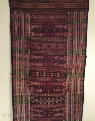 Rare Baluchistan Kilim.  Circa Antique.  4 colors.  Goat hair selvage.  111 x 45.  Clean and hand washed.