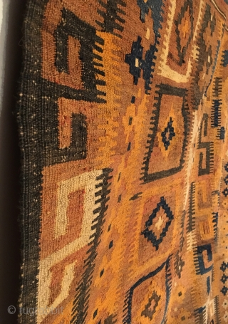 Old Maimana Kilim.  Excellent condition.  4 colors.  134 x 83.  Clean and hand washed.