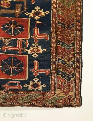 Caucasian Karadashli Rug.  3rd Quarter 19th Century.  Excellent condition.  Fine weave.  Soft wool.  Supple handle.  Interlocking bird latch hook border encloses glowing field.  6 colors.  ...