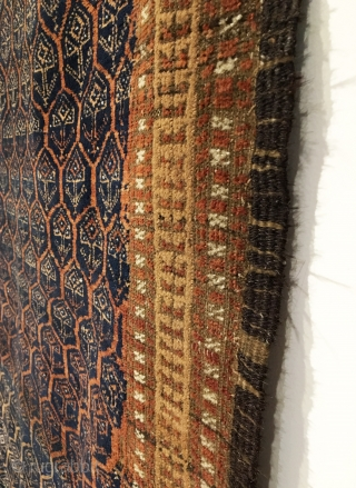 Baluch Rug.  Late 19th Century.  Very good condition.  All over hexagonal lattice, enclosing tree design.  Blue ground abrashed field.  Original 4-cord goat hair selvage.  8 colors.  ...