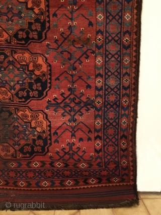Ersari Main Carpet.  Mid 19th Century.  Amu Darya Region, Central Asia.  2 x 6 Gulli-gol field.  Condition: very good.  Original selvages and full kilim ends.   ...