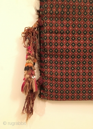 Rare Afghan Baluchistan Money Bag.  Circa Antique.  Flat woven.  Condition: Excellent.  5 colors.  37 x 14in.  Delicately hand washed.