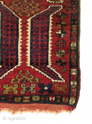 Antique Anatolian Yastik. Last Quarter 19th Century. Excellent condition, all original with one small hole in top left. Saturated colors, glossy wool. 9 colors. 1'11 x 2'5. Delicately hand washed.