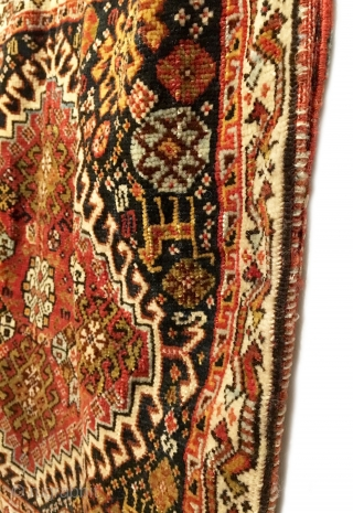 """Antique Persian Qashqai Bagface. Last Quarter 19th Century. Excellent condition considering age. 9 colors. 2'0"""" x 2'2"""". Delicately hand washed."""
