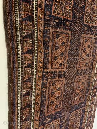 Antique Timuri Rug. Last quarter 19th Century. Fine and rare Timuri small rug with tree totem that dominates field. Buttery soft wool. A miniature main carpet? -- classic main border. Original condition  ...