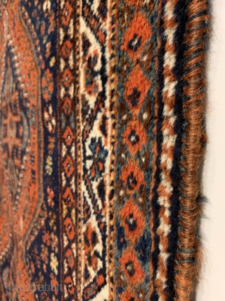 """Khamseh Rug. Early 20th Century. Inscribed and possibly dated. Soft, floppy handle. Original selvedge. 7 colors. 3'11"""" x 5'0"""". Ready for your floor or wall."""
