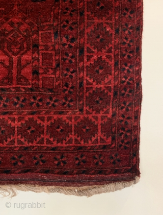 Antique Afghan Charshango Rug. First Quarter 20th Century. Northern Afghanistan. Two and three quarter octagonal guls dominate the rich madder red field. A rosette minor border flank 'Ashik' main border. Rosettes are  ...