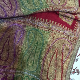 Antique 19th century Indian Kashmiri silver gold threads embroidery shawl, it has been made on woollen pashmina, 