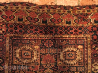 Beshir Ersari Main Carpet, 6'7 x 13'10. Circa 1875. Nearly complete, and scarce so, with Herati and Khotan main borders and the five-medallion Herati field pattern. Very restorable, with the usual scattered  ...