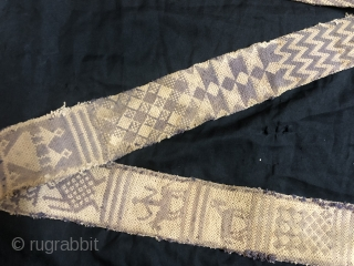 he belt used for the camel decoration called tang from meghwars community of Jaisalmer Rajasthan India 1900 C. made of cotton by split ply braiding techniques the size of the tang is  ...
