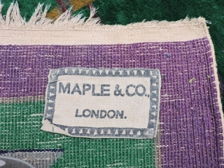 C1930. Maple & Co, Chinese  art deco, wool rug (with label). Good original condition, fringe loss, needs a spruce. Some  colour shift in photo.. From my extensive google image research,  ...