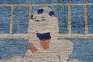 "Antique pictorial Peking Chinese, 6' x 3'7"" , circa 1880's, good original condition."
