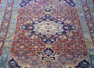 "Antique Persian all wool Bijar halvai, the size is (7'2"" x 12'5""ft.) 