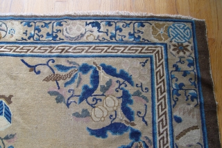 "Antique Peking Chinese 9'2"" x 11'5"" very old Peking, has been hand washed, has a medium to low pile with some wears on one corner."