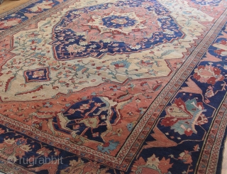"Antique ca. 1860's Persian Farahan Sarouk, size is 8'3"" x 11'4""ft. excellent original condition , no repair, hand washed and cleaned professionally, minor areas of lower pile."