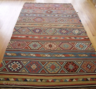 "Antique Caucasian Kilim, size: 5' x 9'9"" feet, super tightly woven, excellent original condition."
