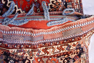 """Antique Persian tribal Qashqai complete set of Saddle bags/khorjin, excellent condition , size: 1'11"""" x 4'1"""" (or 23"""" x 49""""inches)."""