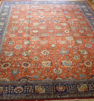 "Antique Persian Tabriz 12'5"" x 18'5"" / 380 x 560 (cm), circa 1900-1920's, has a signature, perfect original condition."
