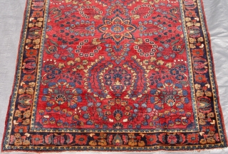 "Antique Persian Mohajeran Sarouk, 3'4"" x 4'10"" (99 x 147 cm.) circa 1900-1910, full pile, no wears, mint condition, hand washed and cleaned ready for floor."