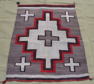 """Antique Native American Navajo Indian wool rug, 3'6"""" x 4'10"""" ft. no holes, no color run, no stains, wonderful condition."""