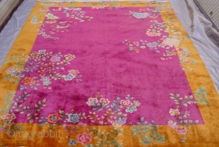 """Antique Art Deco Chinese oriental rug circa 1920's , 8'8"""" x 11'4""""ft. gorgeous colors, great original condition, the rug has been hand washed and cleaned professionally ready for floor, has full pile  ..."""