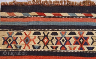 "Caucasian Kilim circa 1880 , size is 4'3"" x 7'6"" ft. ( 130 x 229 cm ) great original condition, the rug and its colors are much nicer in person."