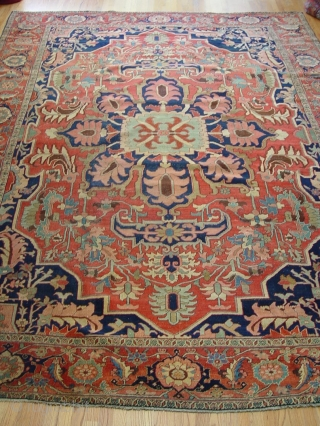 "Antique Persian Serapi, size: 9'10"" x 13'10"", very tightly woven, circa 1880's or older."