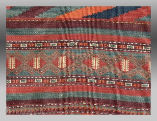 """Baluch Kilim, SE Persia, late 19th C./circa 1900, 4'3"""" x 9'8""""  A colorful older example of flatweave work from the Baluch people of SE Persia.  Made of  wool, it is in  ..."""