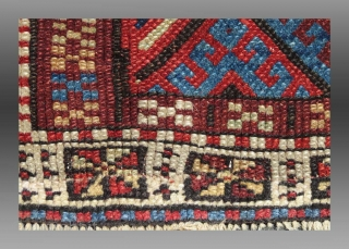 """Jaf Kurd Bag Face, W. Persia, 19th C, 1'11"""" x 1'6""""  Lower end re-woven (see detail image, front and back)  GOOD color, overall even wear  SOLD"""