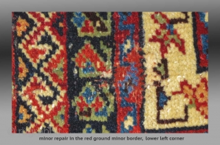 """Afshar Bag Face, S. Persia, 19th C., 2'8"""" x 2'  An unusual design, with minor repair - lower left edge (2) - see detail images  Minor repair, upper end with same amount of repair  ..."""