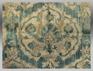 """Italian Velvet Textile, 18th(?) Century, 2'1"""" x 2'11""""  Selvedges on either side intact - ie. full width  US  $425 including DOMESTIC USA shipping"""