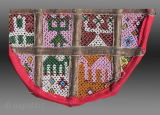 """Beaded Fan, Rajasthan or Gujarat, W. India,circa 1900 (or before?), 8.5"""" x 8""""  Earlier than other beaded material coming from this part of India with very different iconography than what is normally seen.  $550  ..."""