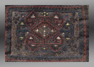 """Baluch Flat Woven """"Chanteh"""" (personal bag), W. Afghanistan, 19th C., 1'3"""" x 1'1""""  An unusual flat woven """"chanteh"""" from western Afghanistan featuring an old, seldom seen pattern in the fiield.  The condition indicates it  ..."""