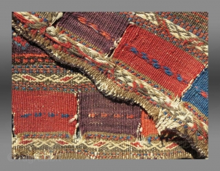 """Baluch Bag Face, W. Afghanistan, 19th C.,  2' x 2'2""""  The design seen here is not uncommon but seems to appear only in bags from western Afghanistan.  Usually we see the  ..."""