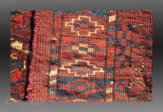 """Yomut Turkmen """"Torba"""" (small bag/trapping), Central Asia, late 19th Century, 1'3"""" x 3'3""""  A nine 'gol' (medallion) torba attributable to the Yomut of Central Asia.  Possibly made for dowry, the condition is  ..."""