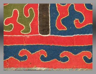 """Kirghiz Applique, Central Asia, circa 1900, 1'6"""" x 1'6""""   A very graphic appliqué textile put together in Central Asia by the Kirghiz.  These textiles represent an old tradition of design and  ..."""