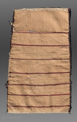 """Baluch Balisht, SE Persia, circa 1900,  1'6""""  x 2'5""""  Good condition (no holes, no repair), with the original complete back as it was woven, ie. extended kilim end is actually long  ..."""