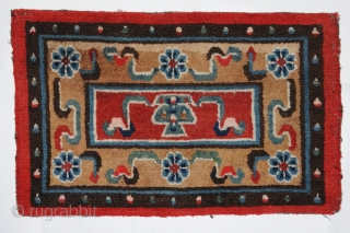 Pillow carpets. Set of 3 14 x 23 each early 20th Century Tibet