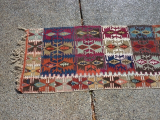 """Anatolian kilim-half  which someone cut in half (probably for display purposes--could be rejoined fairly easily).  Some of the dies are """"hot"""" transitional colors, but still a piece with great workmanship  ..."""