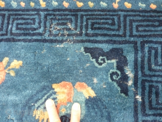 "Beautiful antique rug69"" x 53"" full even pile pile with some unfortunate moth damage (see pictures)."
