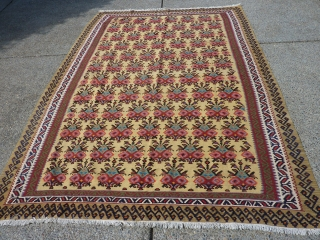 "Extremely Decorative Semi-Antique Bijar (?) Kilim  9'4"" by 78"""