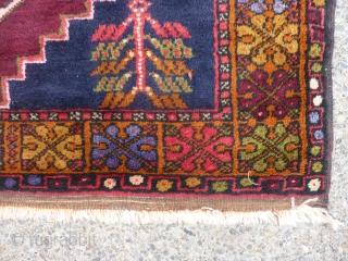"Decorative semi-antique Turkish rug in excellent condition 49"" x 70"" dazzling colors in border."