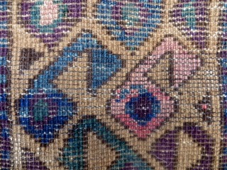 SOLD!  THANK YOU.  Baluch Balisht, 16 x 28 in. Unusual Boteh inside Boteh motif.  No repairs, glossy wool, traces of what may be fuschine which is visible in closeup.  ...
