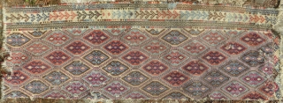 Anatolian Zile fragment, 19th century, 2 ft x 5 ft 6. All natural colors