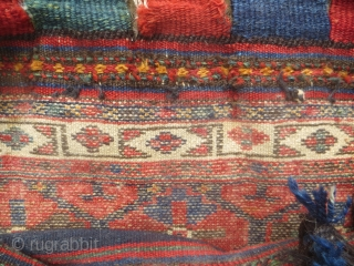 SOLD, Thank You. arge Kurd (?) bag, 2 ft 1 in x 2 ft 5 in, all natural colors, complete with back and piled bottom panel. Could be Baktiari?  See closeup of weave. Some thin  ...