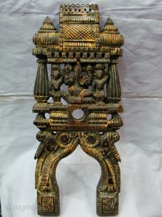 Wooden Kavadi from Tamil Nadu ( South India ).   Teak Wood . Ganesha & Kartike.   Size: 6 x 25 x 52 Cms.   Pair.